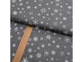 Bavlněné plátno - Vločky bílé na šedé - šíře 150cm/1bm