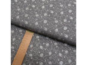Bavlněné plátno - Větvičky se šiškou stříbrné na šedé - šíře 150cm/1bm