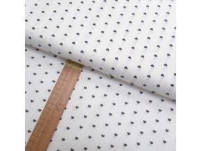 Bavlněné plátno - Srdíčka šedá na bílé - šíře 150cm/1bm