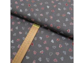 Bavlněné plátno - Srdce bílá, červená na šedé - šíře 150cm/1bm