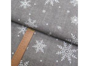 Bavlněné plátno - Vločky bílé na světle šedé lněné půdě - šíře 150cm/1bm