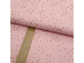 Bavlněné plátno - Hvězdy metalické měděno-růžové na růžové - šíře 150cm/1bm