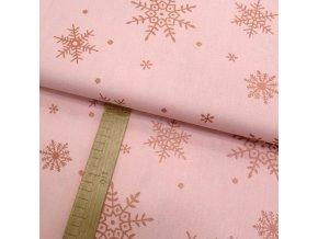 Bavlněné plátno - Vločky metalické měděno-růžové na růžové - šíře 150cm/1bm