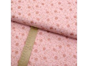 Bavlněné plátno - Větvičky s šištičkou metalické měděno-růžové na růžové - šíře 150cm/1bm