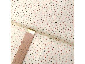 Bavlněné plátno - Hvězdičky malé červené, zelené, zlaté na krémové - šíře 140cm/1bm