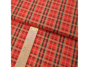 Bavlněné plátno - Kostka červená se zelenou a zlatou - šíře 140cm/1bm