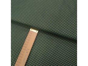 Bavlněné plátno - Puntíčky zlaté na zelené - šíře 140cm/1bm