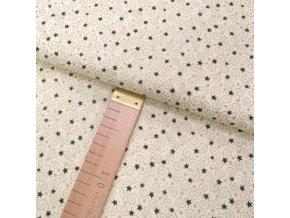 Bavlněné plátno - Hvězdičky malé zelené, spirálky zlaté na krémové - šíře 140cm/1bm