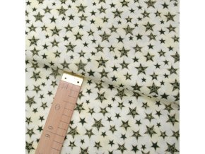 Bavlněné plátno - Hvězdy zelené se zlatým ornamentem na krémové - šíře 140cm/1bm