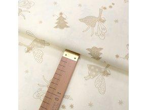 Bavlněné plátno - Andělky zlaté na krémové - šíře 140cm/1bm
