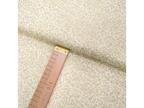 Bavlněné plátno - Větvičky malé zlaté na krémové - šíře 140cm/1bm