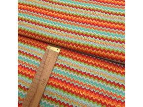 Bavlněné plátno - Chevron - oranžová, žlutá, červená, mátová, zelená - šíře 150cm/1bm