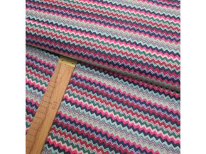 Bavlněné plátno - Chevron - růžová, červená, modrá, mátová - šíře 150cm/1bm