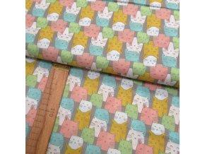 Bavlněné plátno - Barevné kočky na béžovo-šedé - šíře 150cm/1bm