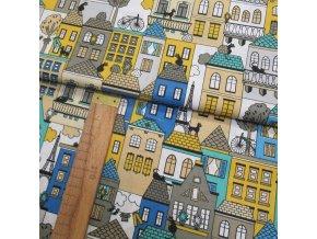 Bavlněné plátno - Domečky - žlutá, modrá, tyrkysová, šedá na bílé - šíře 140cm/1bm