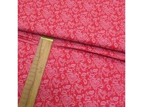 Bavlněné plátno - Srdíčka bílá na  malinově růžové- šíře 160cm/1bm