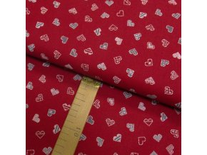 Bavlněné plátno - Srdce bílá, šedá na červené - šíře 150cm/1bm