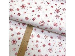 Bavlněné plátno - Vločky červené na krémově bílé - šíře 150cm/1bm