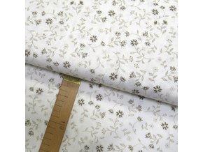 Bavlněné plátno - Květiny béžové na krémově bílé - šíře 150cm/1bm