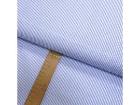 Bavlněné plátno - Proužek světle modrá, bílá - šíře 150cm/1bm