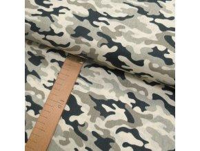 Bavlněné plátno - Maskáč béžový - šíře 160cm/1bm