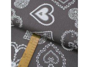 Bavlněné plátno - Srdce bílá na šedé - šíře 150cm/1bm