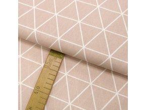 Bavlněné plátno - Trojúhelníky světle starorůžové - šíře 150cm/1bm