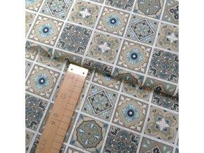 Bavlněné plátno -Dlaždice - béžová, modrá - šíře 140cm/1bm