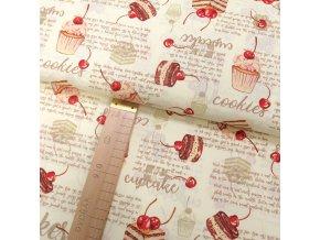 Bavlněné plátno - Cupcake - hnědá, růžová, červená na světle béžové - šíře 140cm/1bm