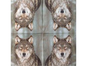 Ubrousek na decoupage - vlk - 33x33cm/1ks
