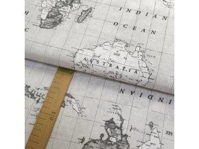Potahové plátno - Mapy šedé - šíře 140cm/1bm