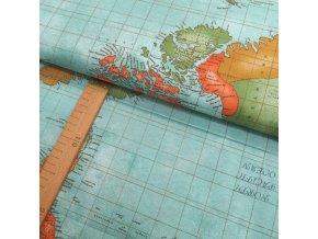 Potahové plátno - Mapy barevné - šíře 140cm/1bm