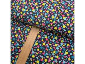 Úplet - Puntíky žluté, růžové, fialové, tyrkysové na černé - šíře 150cm/1bm