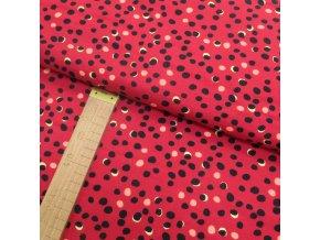 Úplet - Puntíky černé, žluté na červené - šíře 150cm/1bm