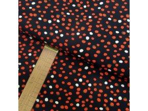 Úplet - Puntíky červené, bílé na černé - šíře 150cm/1bm