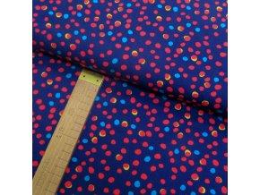 Úplet - Puntíky červené, žluté, modré na modré - šíře 150cm/1bm