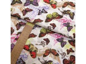 Bavlněné plátno - Motýlci barevní na krémové - šíře 140cm/1bm