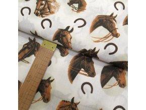 Bavlněné plátno - Koně - hlavy na krémové - šíře 140cm/1bm