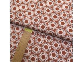 Bavlněné plátno - Mandaly na rezavé - šíře 150cm/1bm