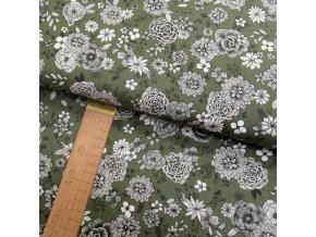 Bavlněné plátno - Květy bílo-černé na khaki - šíře 160cm/1bm
