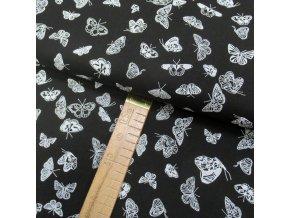 Bavlněné plátno - Motýlci bílí na černé - šíře 150cm/1bm