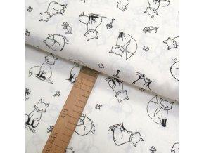 Bavlněné plátno - Lišky černé na bílé - šíře 150cm/1bm