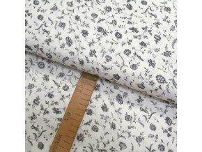 Bavlněné plátno - Květiny šedé na bílé - šíře 150cm/1bm