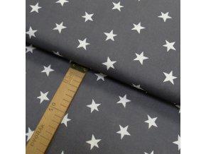 Bavlněné plátno - Hvězdy bílé na šedé - šíře 150cm/1bm