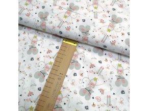 Bavlněné plátno - Myšky šedo-růžové na bílé - šíře 150cm/1bm