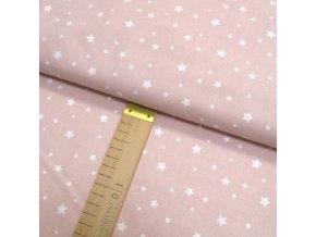 Bavlněné plátno - Bílé hvězdičky na světle růžové - šíře 150cm/1bm