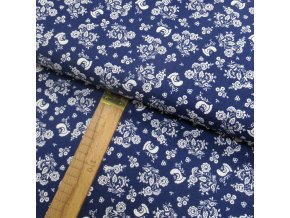 Bavlněné plátno -  Ptáčci a květiny bílé na modré - šíře 150cm/1bm