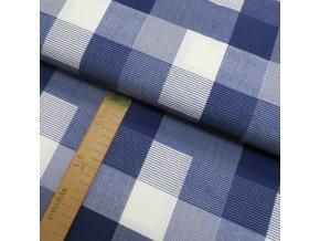 Bavlněné plátno - Kostka modrá, bílá - šíře 150cm/1bm