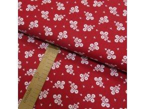 Bavlněné plátno - Květiny bílé na červené - šíře 150cm/1bm