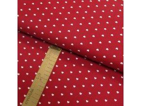 Bavlněné plátno - Srdce bílá na červené - šíře 150cm/1bm